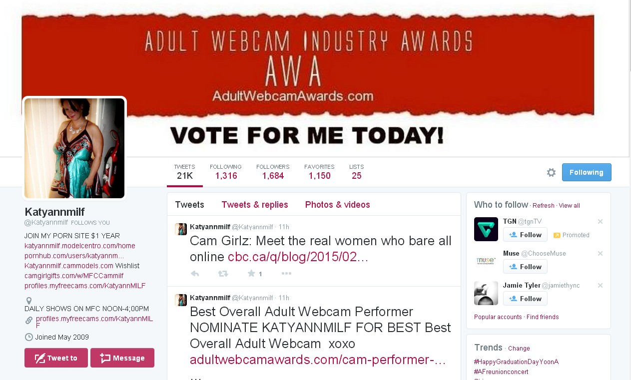 adult webcam awards example for cam models on how to get more votes