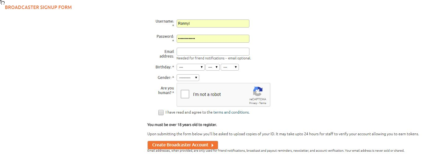 Chaturbate Broadcaster Sign-up form